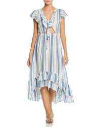 5a47a66f1a Surf Gypsy - Striped Tie - Front Ruffle Maxi Dress Swim Cover - Up - Lyst
