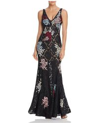 Betsy & Adam - Floral Embroidered Lace Gown - Lyst