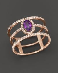 Bloomingdale's - Amethyst And Diamond Geometric Ring In 14k Rose Gold - Lyst