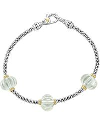 Lagos - 18k Gold & Sterling Silver Caviar Forever Green Amethyst Melon Bead Station Rope Bracelet - Lyst