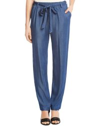 Karen Kane - Belted Chambray Straight Trousers - Lyst