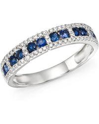 KC Designs - 14k White Gold Diamond & Sapphire Stacking Ring - Lyst