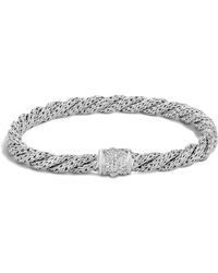 John Hardy - Classic Chain Diamond & Sterling Silver Extra-small Twisted Bracelet - Lyst