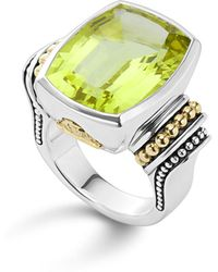 Lagos - 18k Gold And Sterling Silver Caviar Colour Large Ring With Green Quartz - Lyst