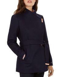 e7be07e29f8d Lyst - Ted Baker  paria  Short Wool Blend Wrap Coat in Blue