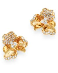Bloomingdale's Diamond Flower Stud Earrings In 14k Yellow Gold - Metallic