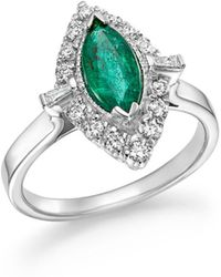 Bloomingdale's - Emerald Marquise & Diamond Statement Ring In 14k White Gold - Lyst