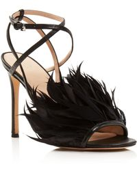 Pour La Victoire - Women's Elexi Feather Embellished High-heel Sandals - Lyst