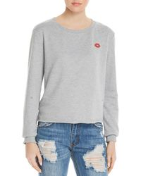 Honey Punch - Lips Embroidered Distressed Sweatshirt - Lyst