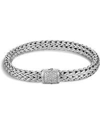 John Hardy - Classic Chain Sterling Silver Medium Bracelet With Diamond Pavé - Lyst