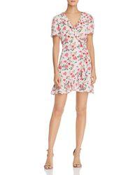 Aqua - Floral Print Ruffled Wrap Dress - Lyst