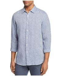 Michael Kors - Cross Dye Linen Long Sleeve Button-down Shirt - Lyst
