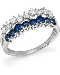 Bloomingdale's - Diamond And Blue Sapphire Band Ring In 14k White Gold - Lyst