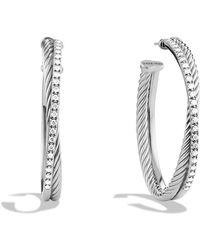 David Yurman - Crossover Extra Large Hoop Earrings With Diamonds - Lyst