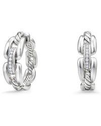David Yurman - Wellesley Link Hoop Earrings With Diamonds - Lyst
