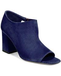 Via Spiga - Women's Eladine Open-toe Suede Block Heel Booties - Lyst