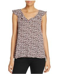 Cupcakes And Cashmere - Jaclyn Floral Print Flutter Top - Lyst