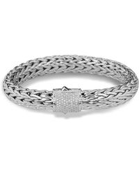 John Hardy - Classic Chain Sterling Silver Large Bracelet With Diamond Pavé - Lyst