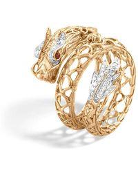 John Hardy - 18k Gold Naga Diamond Pavé Dragon Coil Ring With African Ruby Eyes - Lyst