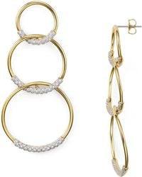 Nadri - Pavé Tri Circle Drop Earrings - Lyst