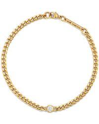 Zoe Chicco - 14k Yellow Gold Small Curb Diamond Chain Bracelet - Lyst