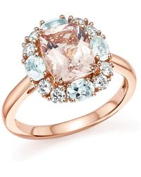 Bloomingdale's - Morganite, Aquamarine And Diamond Ring In 14k Rose Gold - Lyst
