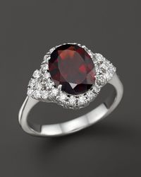 Bloomingdale's - Garnet And Diamond Ring In 14k White Gold - Lyst