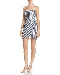 Aqua - Striped Faux-wrap Dress - Lyst