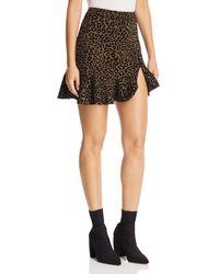 Aqua - Flocked Leopard Print Mini Skirt - Lyst
