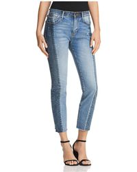 Aqua - Cropped Two-tone Jeans In Double Indigo - Lyst