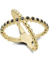 Lagos - Gold & Black Caviar Collection 18k Gold & Black Diamond Crossover Ring - Lyst