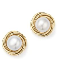 Bloomingdale's - 14k Yellow Gold Knot Stud Earrings With Cultured Freshwater Pearls - Lyst