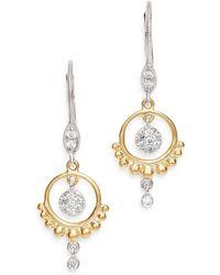 Meira T - 14k Yellow & White Gold Open Circle Diamond Dangle Earrings - Lyst