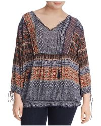 Lucky Brand - Scarf Print Peasant Blouse - Lyst