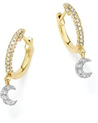 Meira T - 14k White And Yellow Gold Moon Charm Hoop Earrings With Diamonds - Lyst