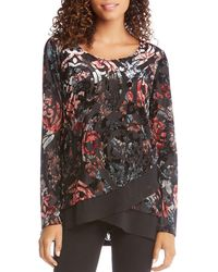 Karen Kane - Floral Print Sheer Crossover Hem Burnout Velvet Top - Lyst