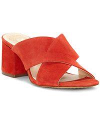 Vince Camuto - Women's Stania Suede Block Heel Slide Sandals - Lyst