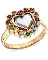 Shebee - Sterling Silver & 14k Yellow Gold White Topaz & Multicolor Sapphire Heart Ring - Lyst