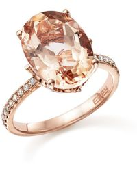 Bloomingdale's - Morganite Oval And Diamond Statement Ring In 14k Rose Gold - Lyst