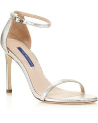 3233aaafff3 Stuart Weitzman - Women s Nudist Metallic Leather High-heel Sandals - Lyst