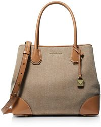bc15ffc2bf5b MICHAEL Michael Kors Jayne Small Trunk Tweed Logo Clasp Tote in ...
