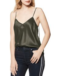 07b99e9f5d8aa6 Paige Cicely Dark Green Silk Satin Top in Green - Lyst
