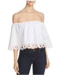 T Tahari - Cissy Off-the-shoulder Eyelet Top - Lyst