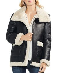 Vince Camuto - Faux Shearling Moto Jacket - Lyst