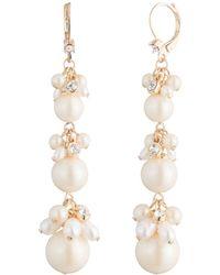 Carolee - Cultured Freshwater Pearl Linear Drop Earrings - Lyst
