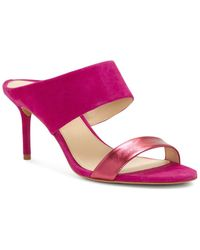 Vince Camuto - Women's Navinta Suede & Leather Mid Heel Slide Sandals - Lyst