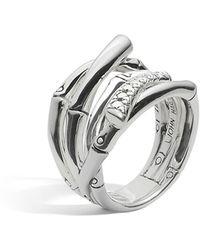John Hardy | Women's Sterling Silver Bamboo Diamond Pavé Wide Ring | Lyst