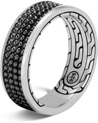 John Hardy - Sterling Silver Classic Chain Black Rhodium Jawan Band Ring - Lyst