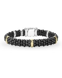 Lagos | Black Caviar Ceramic Sterling Silver And 18k Yellow Gold Station Bracelet | Lyst