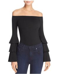 Aqua - Off-the-shoulder Tiered Sleeve Bodysuit - Lyst